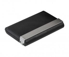 Visitenkartenbox REFLECTS-RESENDE SILVER Werbeartikel schwarz, silber