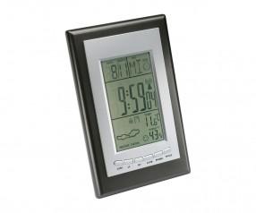 Wetterstation mit Funkuhr REFLECTS-SAURIMO Werbegeschenk schwarz, silber