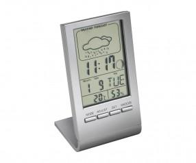 Alarmuhr mit Thermometer REFLECTS-DRANFIELD Werbepräsent silber