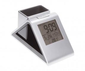 Stifthalter mit Uhr REFLECTS-OREM Promotion-Artikel silber