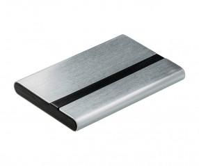 Visitenkartenbox REFLECTS-JANAÚBA SILVER BLACK Werbegeschenk schwarz, silber, silber/schwarz