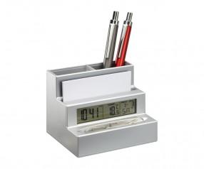 Stifthalter mit Uhr REFLECTS-HARLEM Promotion-Artikel mattsilber