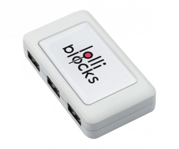 REFLECTS USB-Hub mit 4 Anschlüssen LOLLIBLOCKS-USB HUB WHITE Werbemittel weiß
