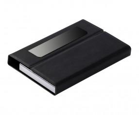 Visitenkartenbox REFLECTS-LEMNIK BLACK mit Werbeanbringung schwarz