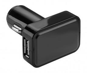 USB Autoladeadapter REFLECTS-KOSTROMA BLACK mit Werbeanbringung schwarz