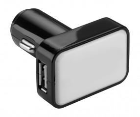 USB Autoladeadapter REFLECTS-KOSTROMA BLACK/WHITE mit Beschriftung schwarz/weiß