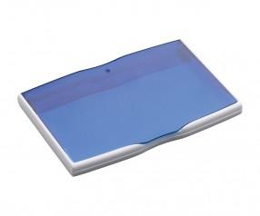 Visitenkartenbox REFLECTS-MELAKA WHITE BLUE mit Werbeanbringung blau, weiß, weiß/blau