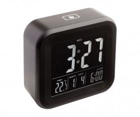 Alarmuhr mit Thermometer REFLECTS-ANTIBES Werbepräsent schwarz