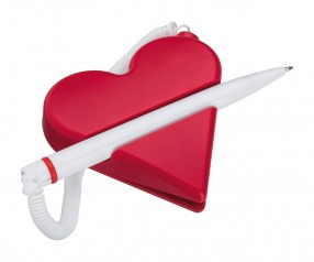 REFLECTS Notizzettelhalter mit Kugelschreiber CLIC CLAC-SALERNO mit Werbeanbringung rot