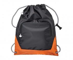 Turnbeutel REFLECTS-SUNDSVALL BLACK NEON ORANGE mit Beschriftung schwarz/orange