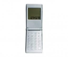 Taschenrechner mit Weltzeituhr REFLECTS-PRATO Werbeartikel silber