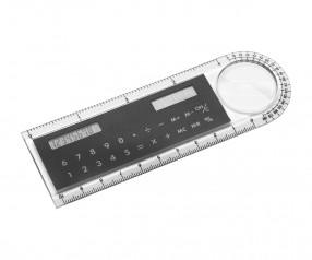 REFLECTS Solartaschenrechner mit Lineal PENTICTON Promotion-Artikel schwarz, transparent