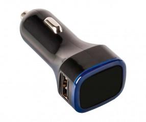 USB Autoladeadapter REFLECTS-COLLECTION 500 mit Beschriftung schwarz/blau