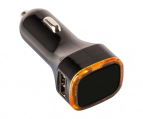 USB Autoladeadapter REFLECTS-COLLECTION 500 mit Werbeanbringung schwarz/orange