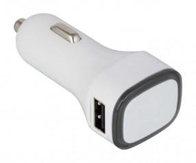 USB Autoladeadapter REFLECTS-COLLECTION 500 Werbegeschenk weiß/schwarz