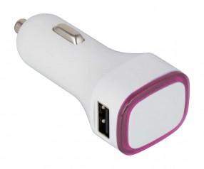 USB Autoladeadapter REFLECTS-COLLECTION 500 mit Beschriftung weiß/magenta
