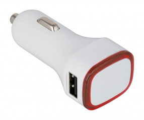 USB Autoladeadapter REFLECTS-COLLECTION 500 Werbemittel weiß/rot