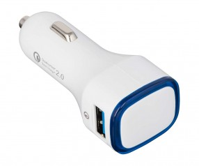 USB Autoladeadapter QuickCharge 2.0® REFLECTS-COLLECTION 500 Werbepräsent weiß/blau