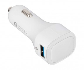 USB Autoladeadapter QuickCharge 2.0® REFLECTS-COLLECTION 500 mit Logo weiß/transparent
