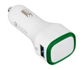 USB Autoladeadapter QuickCharge 2.0® REFLECTS-COLLECTION 500 mit Werbeanbringung weiß/grün