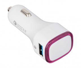 USB Autoladeadapter QuickCharge 2.0® REFLECTS-COLLECTION 500 Werbemittel weiß/magenta