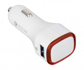 USB Autoladeadapter QuickCharge 2.0® REFLECTS-COLLECTION 500 Werbepräsent weiß/rot