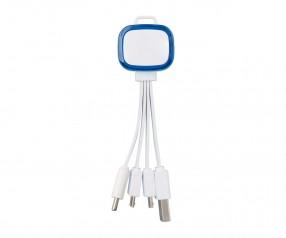 Multi-USB-Ladekabel REFLECTS-COLLECTION 500 mit Logo weiß/blau