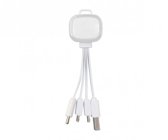 Multi-USB-Ladekabel REFLECTS-COLLECTION 500 mit Beschriftung weiß/transparent