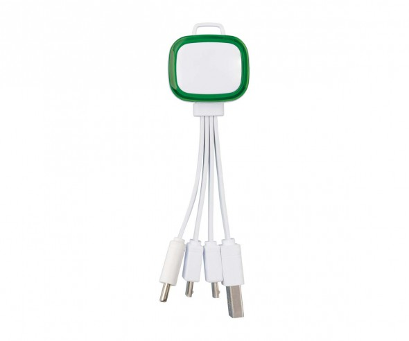 Multi-USB-Ladekabel REFLECTS-COLLECTION 500 Werbeartikel weiß/grün