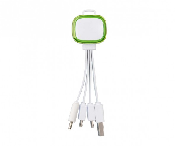 Multi-USB-Ladekabel REFLECTS-COLLECTION 500 Werbegeschenk weiß/hellgrün