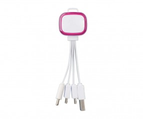 Multi-USB-Ladekabel REFLECTS-COLLECTION 500 Werbepräsent weiß/magenta