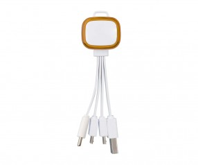 Multi-USB-Ladekabel REFLECTS-COLLECTION 500 Promotion-Artikel weiß/orange