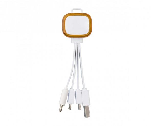Multi-USB-Ladekabel REFLECTS-COLLECTION 500 Promotion-Artikel weiß/orange