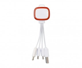 Multi-USB-Ladekabel REFLECTS-COLLECTION 500 mit Logo weiß/rot
