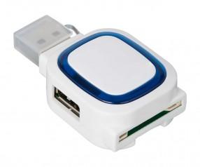 USB-Hub mit 2 Anschlüssen und Speicherkartenlesegerät REFLECTS-COLLECTION 500 mit Logo weiß/blau