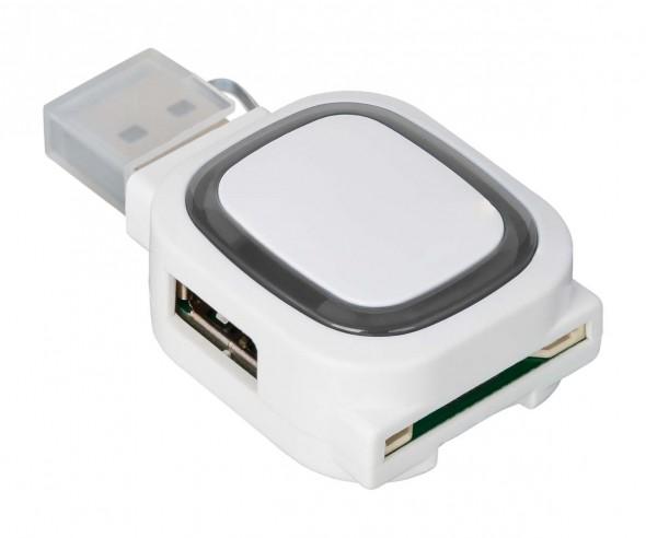 USB-Hub mit 2 Anschlüssen und Speicherkartenlesegerät REFLECTS-COLLECTION 500 mit Werbeanbringung we