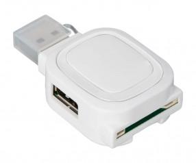 USB-Hub mit 2 Anschlüssen und Speicherkartenlesegerät REFLECTS-COLLECTION 500 mit Beschriftung weiß/