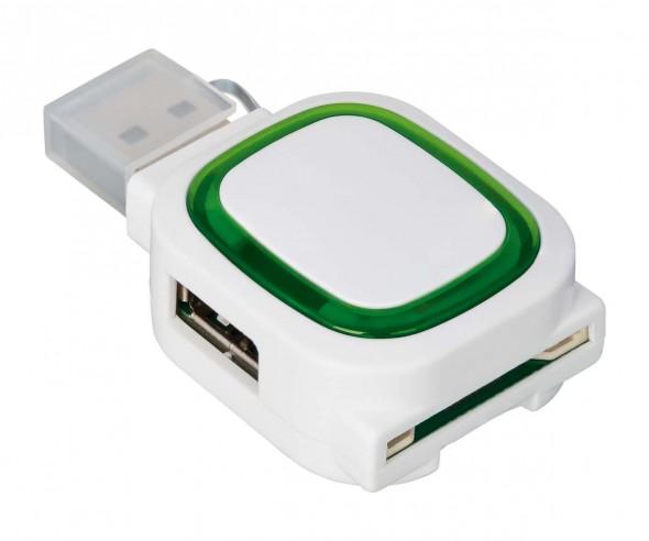USB-Hub mit 2 Anschlüssen und Speicherkartenlesegerät REFLECTS-COLLECTION 500 Werbeartikel weiß/grün