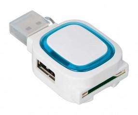USB-Hub mit 2 Anschlüssen und Speicherkartenlesegerät REFLECTS-COLLECTION 500 Werbemittel weiß/hellb