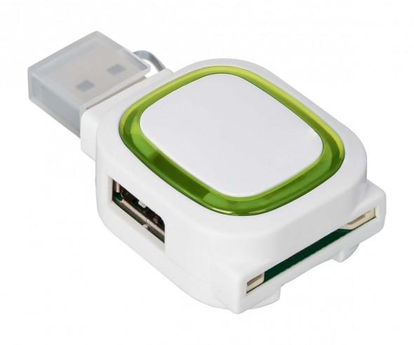 USB-Hub mit 2 Anschlüssen und Speicherkartenlesegerät REFLECTS-COLLECTION 500 Werbegeschenk weiß/hel
