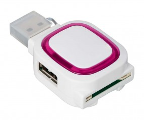 USB-Hub mit 2 Anschlüssen und Speicherkartenlesegerät REFLECTS-COLLECTION 500 Werbepräsent weiß/mage