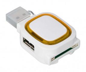 USB-Hub mit 2 Anschlüssen und Speicherkartenlesegerät REFLECTS-COLLECTION 500 Promotion-Artikel weiß
