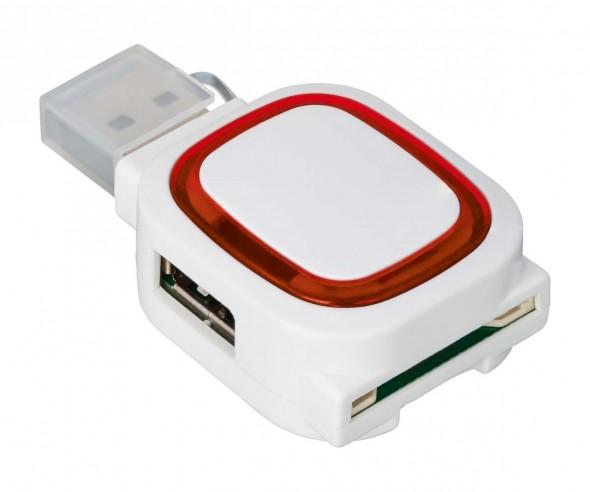 USB-Hub mit 2 Anschlüssen und Speicherkartenlesegerät REFLECTS-COLLECTION 500 mit Logo weiß/rot