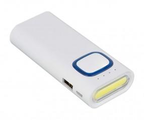 Powerbank mit COB LED Taschenlampe REFLECTS-COLLECTION 500 Werbepräsent weiß/blau