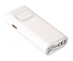 Powerbank mit COB LED Taschenlampe REFLECTS-COLLECTION 500 mit Logo weiß/transparent