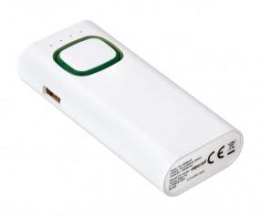 Powerbank mit COB LED Taschenlampe REFLECTS-COLLECTION 500 mit Werbeanbringung weiß/grün