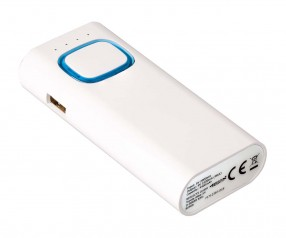 Powerbank mit COB LED Taschenlampe REFLECTS-COLLECTION 500 mit Beschriftung weiß/hellblau