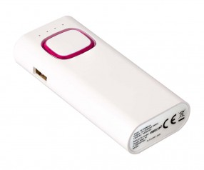 Powerbank mit COB LED Taschenlampe REFLECTS-COLLECTION 500 Werbemittel weiß/magenta