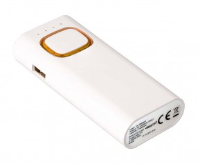 Powerbank mit COB LED Taschenlampe REFLECTS-COLLECTION 500 Werbegeschenk weiß/orange