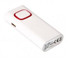 Powerbank mit COB LED Taschenlampe REFLECTS-COLLECTION 500 Werbepräsent weiß/rot